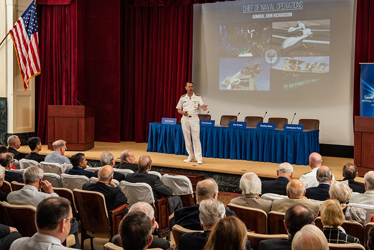 Adm. John Richardson, chief of naval operations, delivers a keynote address during the 69th annual Current Strategy Forum held at U.S. Naval War College (NWC).